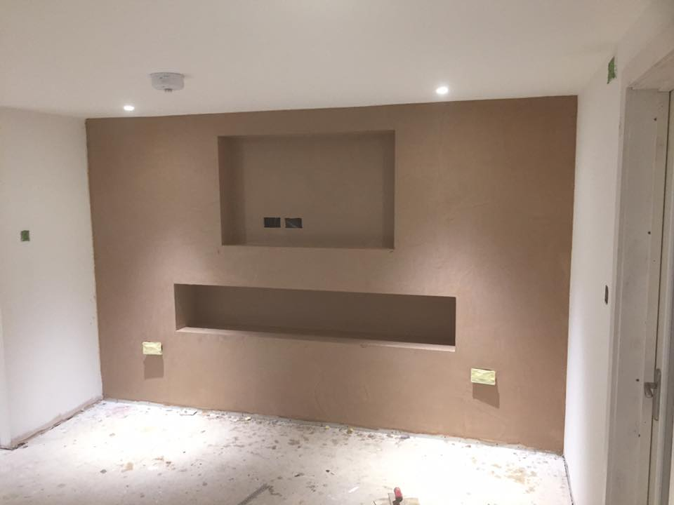 tv wall Plastered